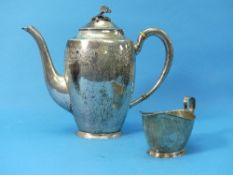 A Swedish silver Teapot, by Karl Anderson, hallmarked Stockholm, 1934, of tall ovoid form, the plain