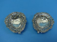 A near matched pair of pretty Victorian silver Bon Bon Dishes, by George Nathan & Ridley Hayes,