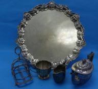 A large quantity of Silver Plate, including two handled tray, salver, tea sets, tea caddy, wine