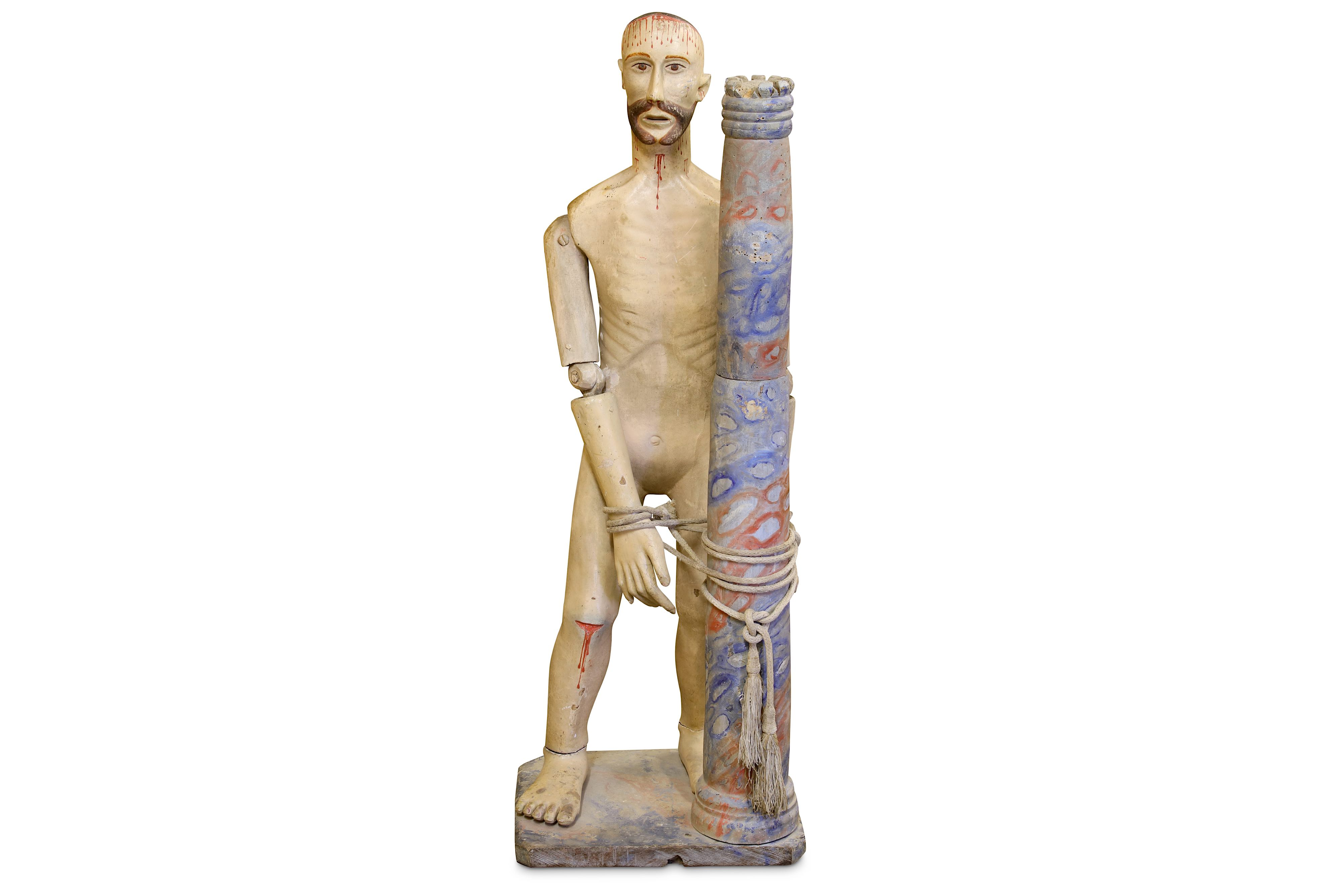 Lot 33 - A 19TH CENTURY CARVED WOOD AND POLYCHROME DECORATED FIGURE OF CHRIST SCOURGED