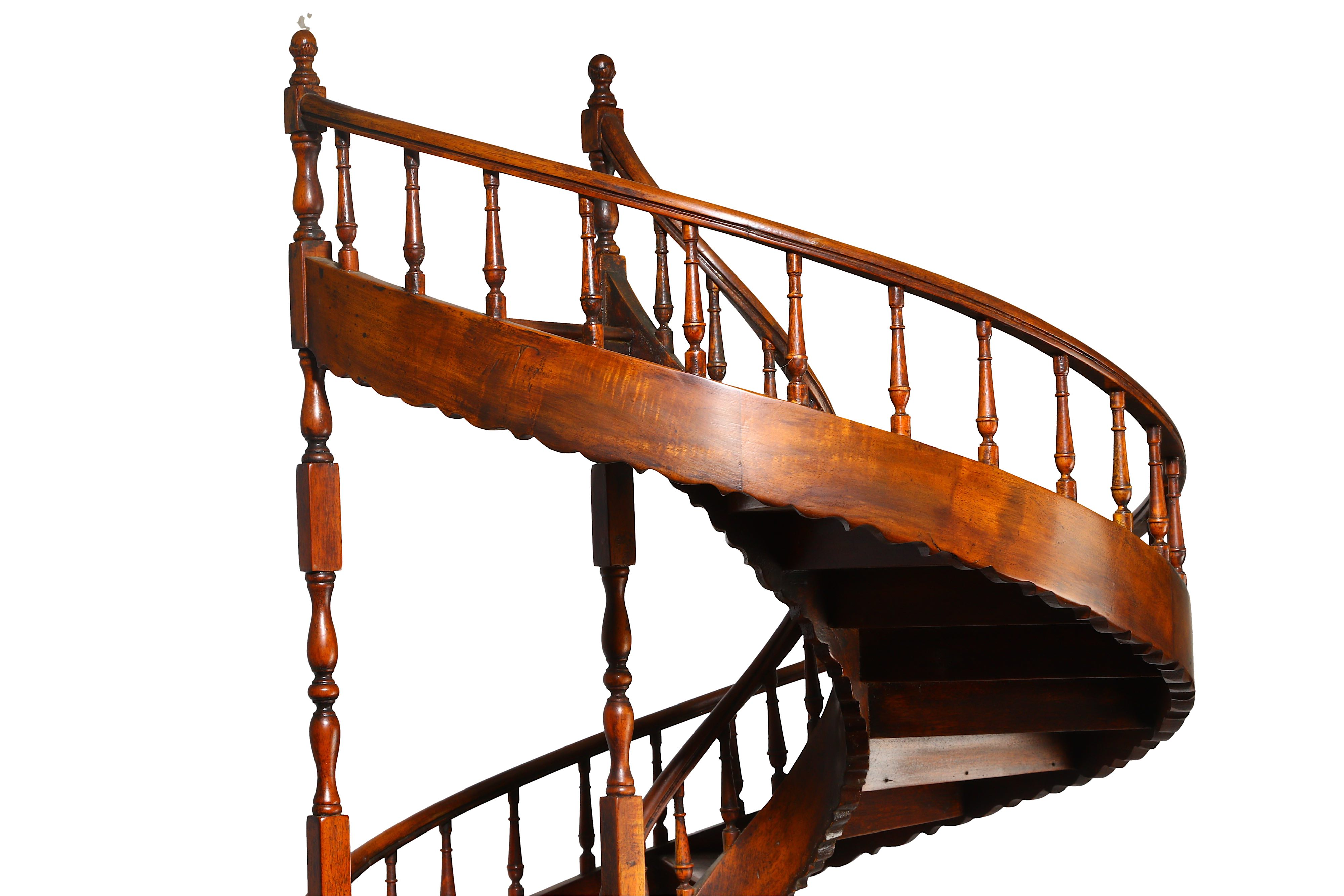 A LARGE EARLY 20TH CENTURY MAHOGANY APPRENTICE'S ARCHITECTURAL MODEL OF A SPIRAL STAIRCASE - Image 6 of 9