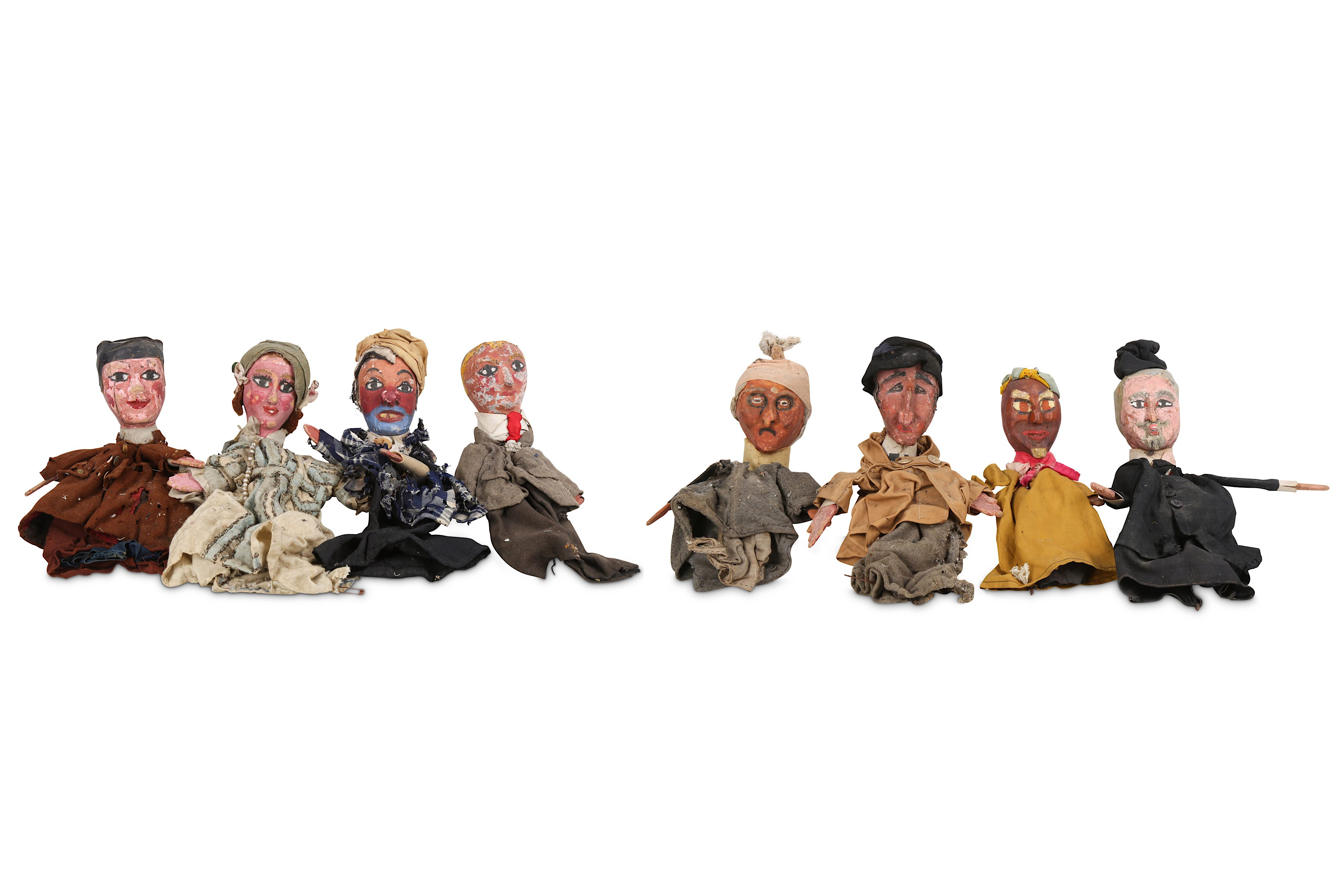 Lot 1 - A SET OF EIGHT 1930'S FRENCH HANDPAINTED AND CARVED WOOD PUPPETS FOR 'LE GUIGNOL DES ENFANTS'