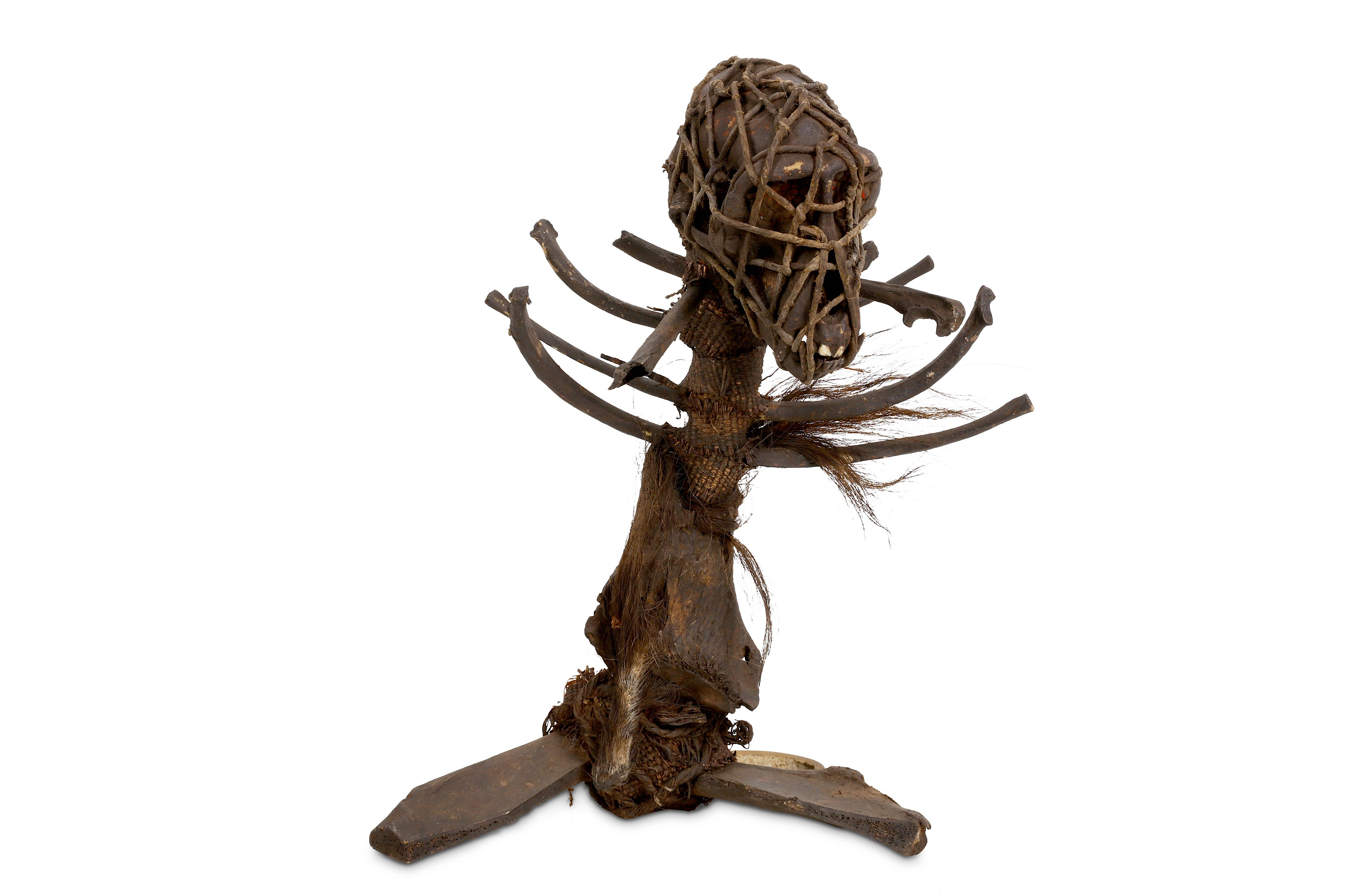 Lot 13 - A 19TH CENTURY AFRICAN WITCH DOCTOR STAFF (FETISH) FORMED FROM MONKEY REMAINS