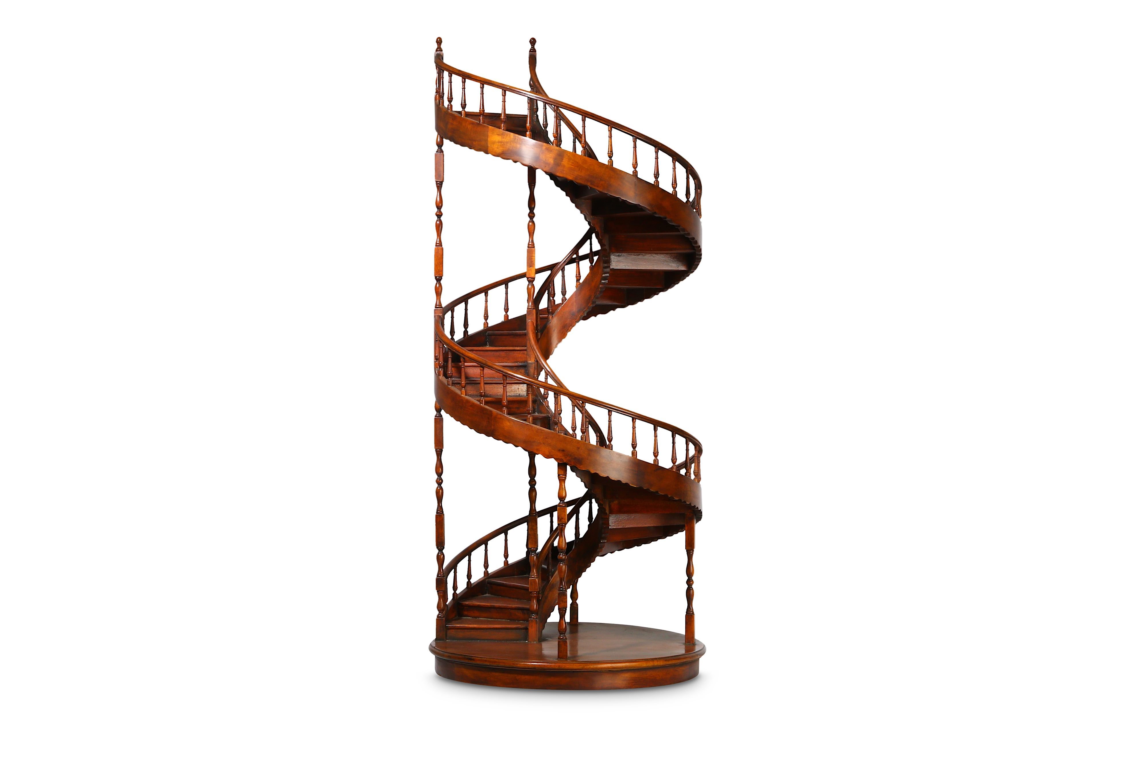 A LARGE EARLY 20TH CENTURY MAHOGANY APPRENTICE'S ARCHITECTURAL MODEL OF A SPIRAL STAIRCASE