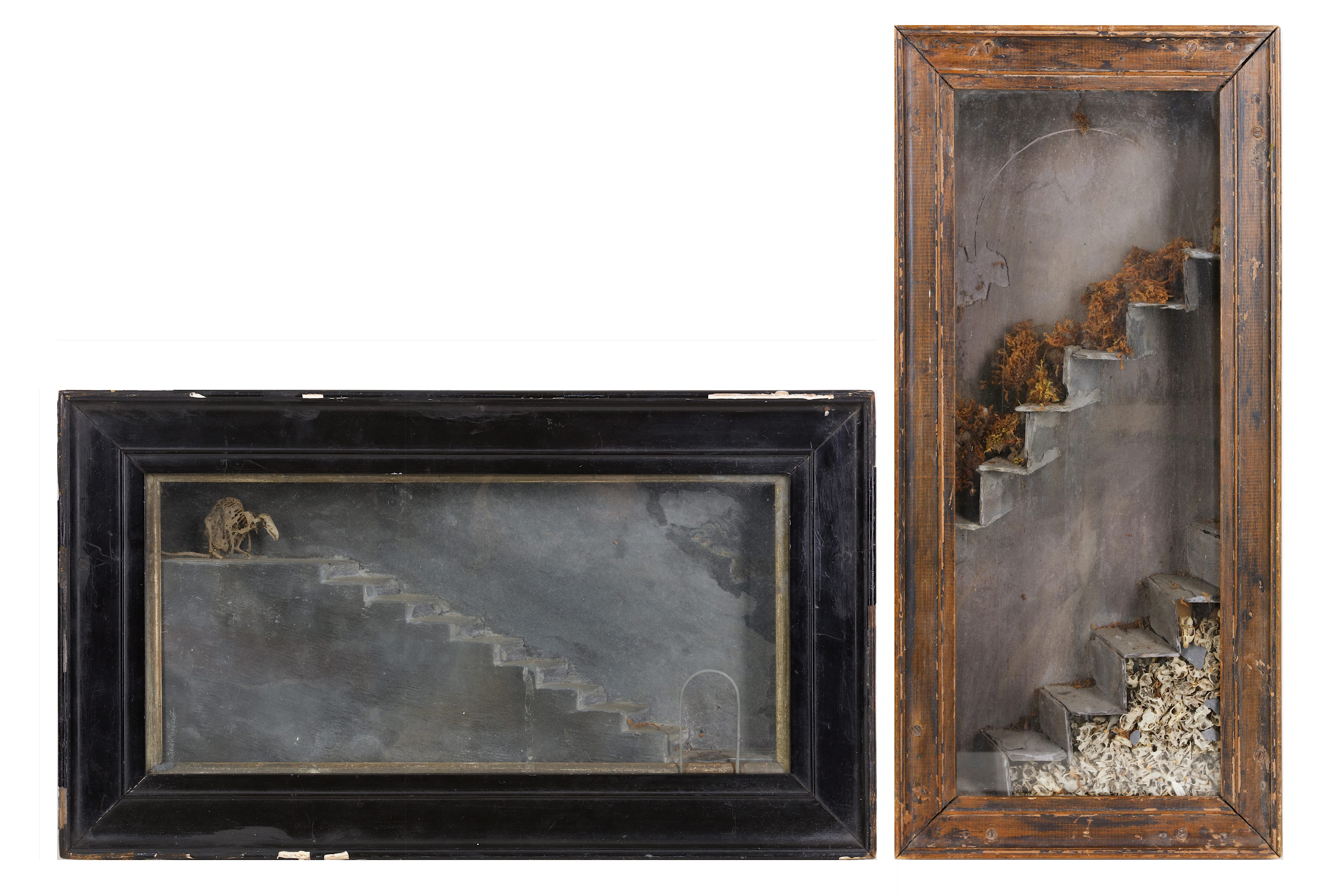 Lot 9 - TWO GOTHIC STYLE SLATE AND BONE DIORAMAS