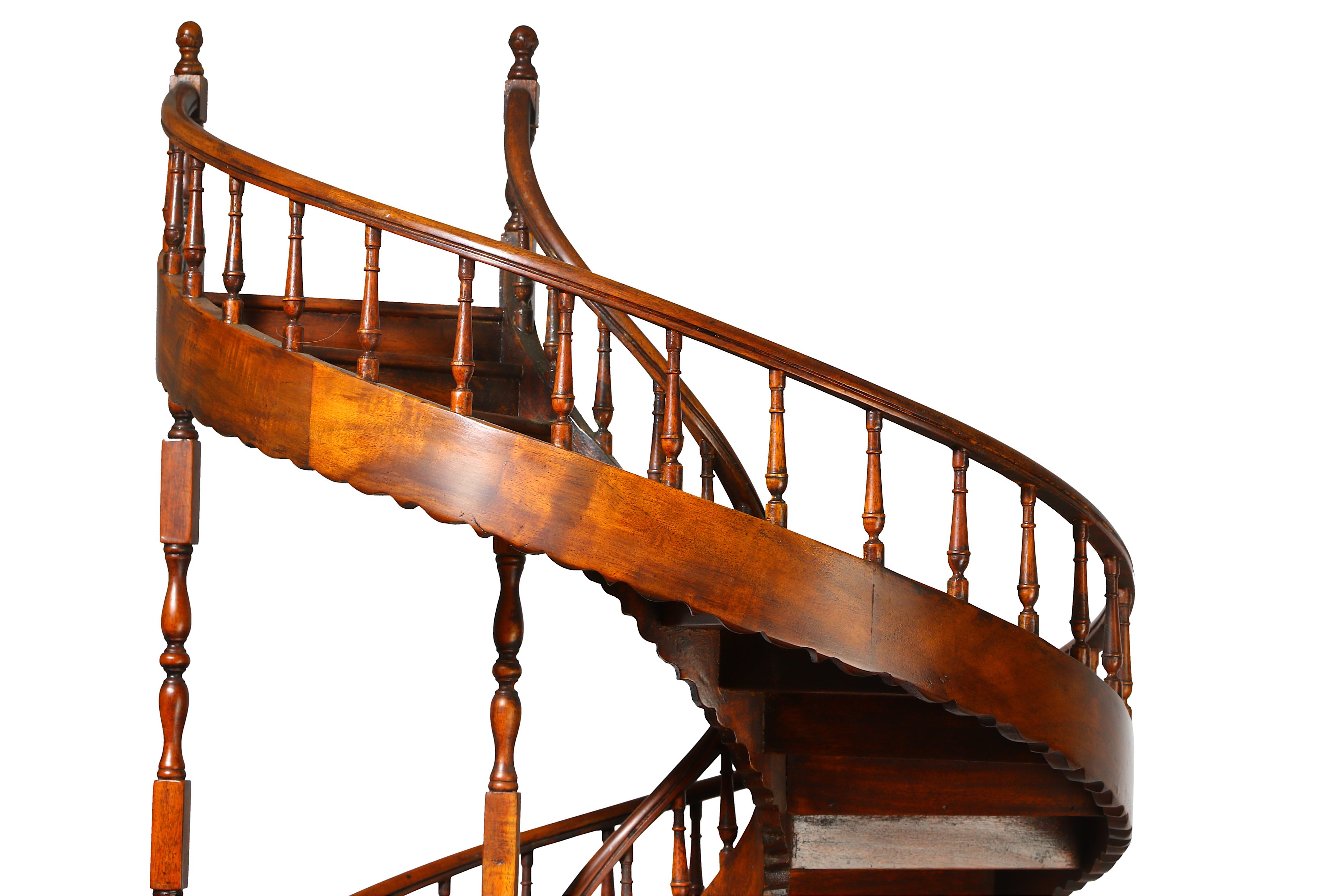 A LARGE EARLY 20TH CENTURY MAHOGANY APPRENTICE'S ARCHITECTURAL MODEL OF A SPIRAL STAIRCASE - Image 4 of 9