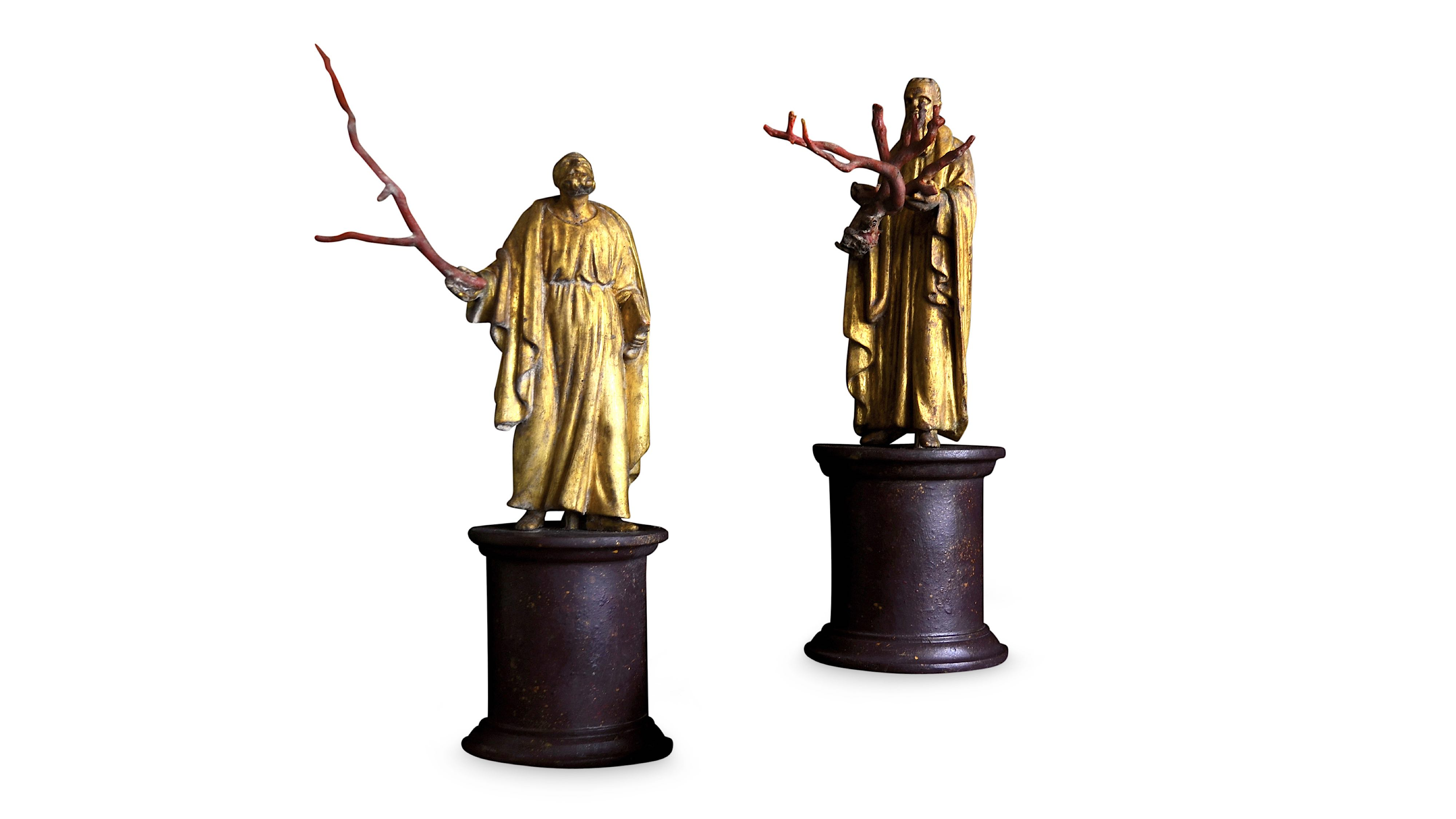 Lot 31 - A PAIR OF 19TH CENTURY ITALIAN GILTWOOD AND COPPER FIGURES OF SAINTS