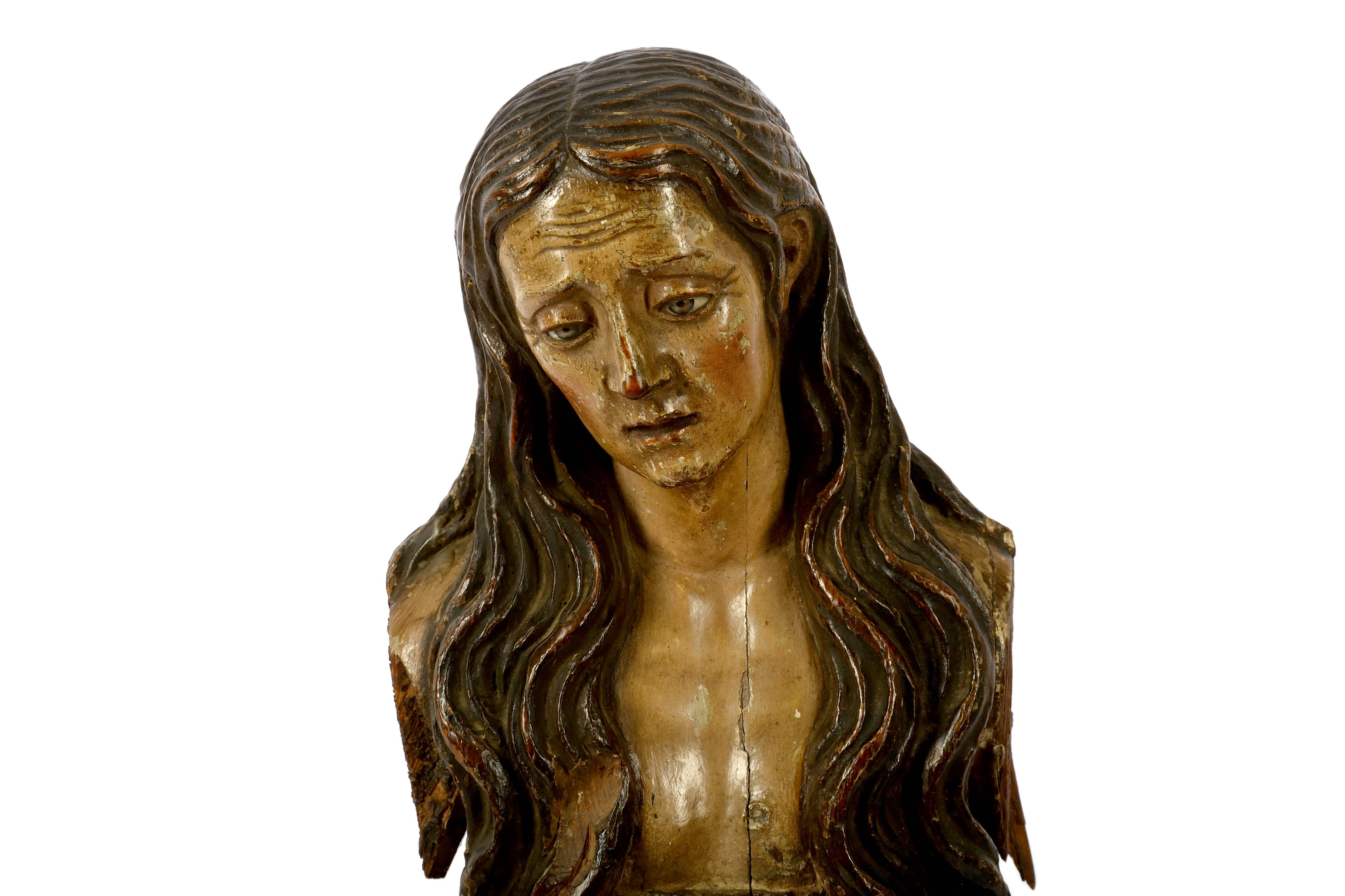 Lot 29 - A CARVED AND PAINTED FIGURE OF MARY MAGDALENE 19TH CENTURY