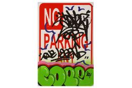 Cope2 (American, b.1968) 'True Legend Parking Street Sign'
