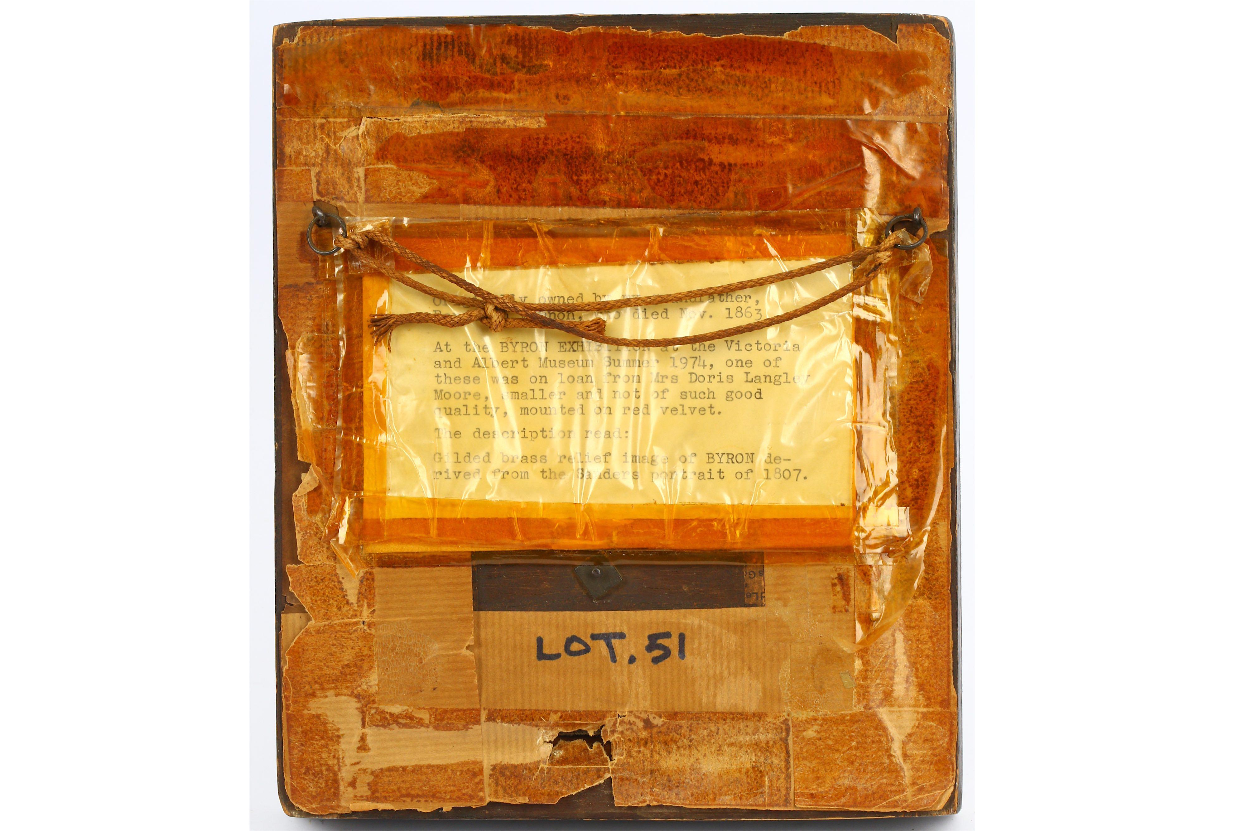 Lot 44 - A GILT BRONZE RELIEF PLAQUE OF BYRON