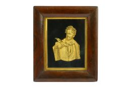 A GILT BRONZE RELIEF PLAQUE OF BYRON