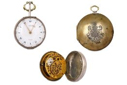 AN ENGLISH PAIR-CASED POCKET WATCH WITH LORD BYRON'S CREST ON THE OUTER CASE BY GEORGE PRIOR