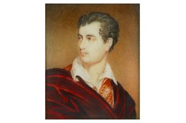 A PORTRAIT MINIATURE OF LORD BYRON WEARING A RED CLOAK