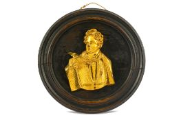 A GILT BRONZE PLAQUE OF LORD BYRON AS A YOUNG SAILOR