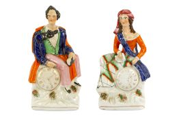 A PAIR OF GLAZED STAFFORDSHIRE FIGURES OF LORD BYRON AND TERESA MAKRI