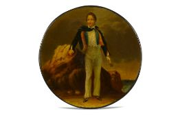 A CIRCULAR PAPIER-MÂCHÉ SNUFF BOX WITH BYRON LEAVING FOR HIS FIRST TRIP TO GREECE