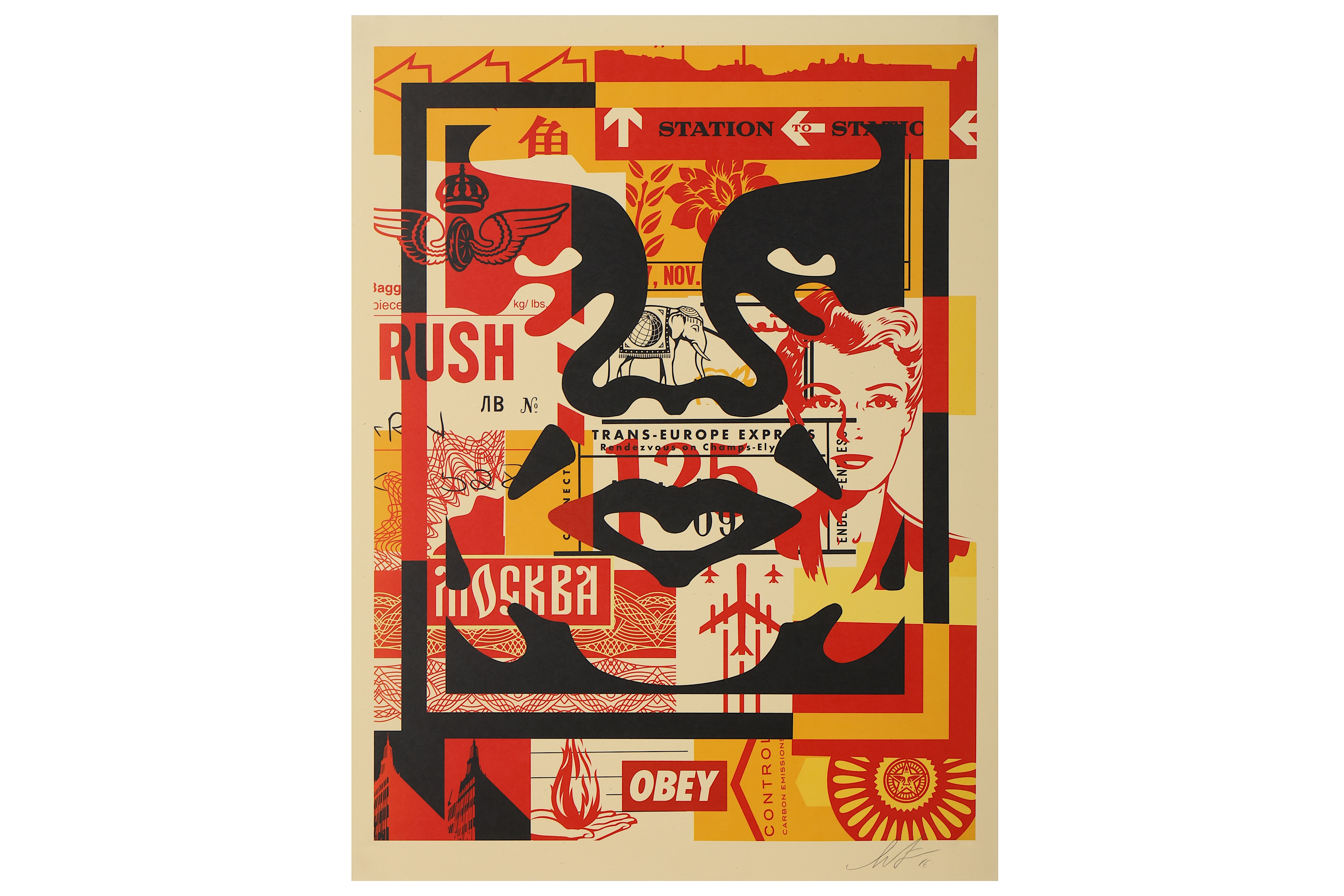 Lot 77 - § Shepard Fairey (American, b.1970), 'OBEY Three Faces Collage no.2'