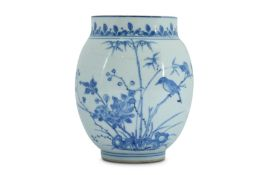 A SMALL BLUE AND WHITE 'BIRD AND FLOWER' JAR.
