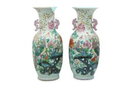 A PAIR OF LARGE CHINESE FAMILLE ROSE 'PHOENIX' VASES.