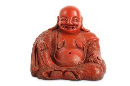 A CHINESE CINNABAR LACQUER FIGURE OF BUDAI HESHANG.