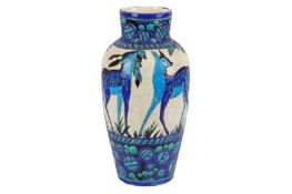 BOCH FRERES: a large Art Deco 'Biches Bleues' vase