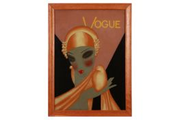 VOGUE: an Art Deco style reverse painting on glass