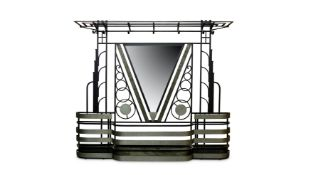 FRANCE: AN ART DECO PAINTED AND SILVERED METAL MIRRORED HALL STAND