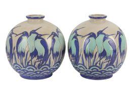 KERALOUVE LA LOUVIERE: a pair of Belgian contemporary pottery vases