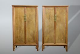 A PAIR OF CHINESE HARDWOOD ROUND-CORNERED TAPERED CABINETS, YUANJIAOGUI