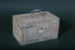 A CHINESE CARVED MOTHER-OF-PEARL RECTANGULAR TEA CADDY.