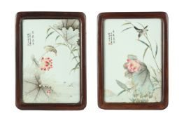 A PAIR OF CHINESE PORCELAIN 'LOTUS POND' PLAQUES.