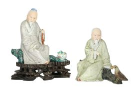 TWO CHINESE FAMILLE ROSE SCHOLAR FIGURES.