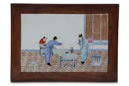 A CHINESE FAMILLE ROSE 'ARTISTS' PORCELAIN PLAQUE MOUNTED AS A LOW TABLE.