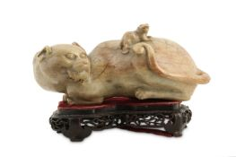 A CHINESE SOAPSTONE 'CAT' GROUP.