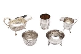 A mixed group of sterling silver, including a Victorian sauceboat Birmingham 1897 by Thomas Hayes