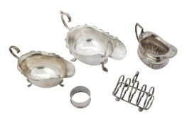 A mixed group of sterling silver holloware