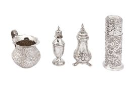 A mixed group of sterling silver including a Victorian pepper pot, London 1852 by John Evans