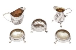 A mixed group of sterling silver including a George II salt, London 1737 by Edward Wood
