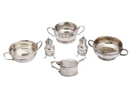 A mixed group of sterling silver twin handled sugar bowls