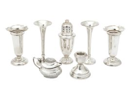 A mixed group of sterling silver including an Edwardian pair of posy vases, Birmingham 1909 by