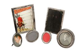 A mixed group of sterling silver frames, including an Edwardian menu frame, Birmingham 1901 by