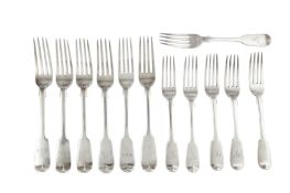 A mixed group of sterling silver Fiddle pattern table forks and dessert forks