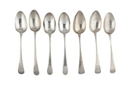 A mixed group – A pair of George III sterling silver tablespoons, London 1783 by James Sutton &