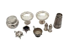 A mixed group of sterling silver including a pair of George V pedestal bon-bon dishes Birmingham