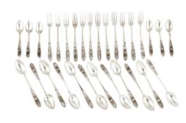 A set of mid-20th century Cypriot silver sugar spoons and forks, circa 1960