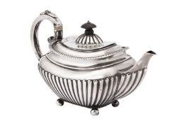 A Victorian sterling silver bachelor teapot, Sheffield 1898 by James Dixon and Sons