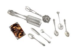 A mixed group, including a Victorian pair of asparagus tongs, Sheffield 1889 by IAM (untraced)
