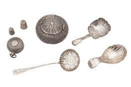 A mixed group – including a Victorian caddy spoon, Birmingham 1850 by James Collins