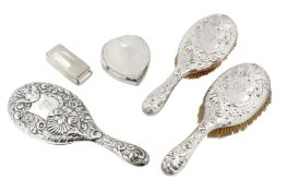 A mixed group of sterling silver dressing table items