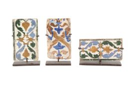 THREE RECTANGULAR SPANISH ARISTA POTTERY TILES